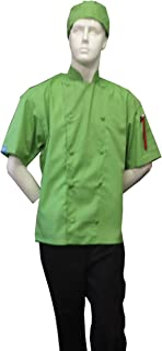 CHEFSKIN CHEF JACKET COAT LIME GREEN SHORT SLEEVE ULTRA LIGTHWEIGHT COOL AND COMFORTABLE // FREE BEANE HAT INCLUDED...