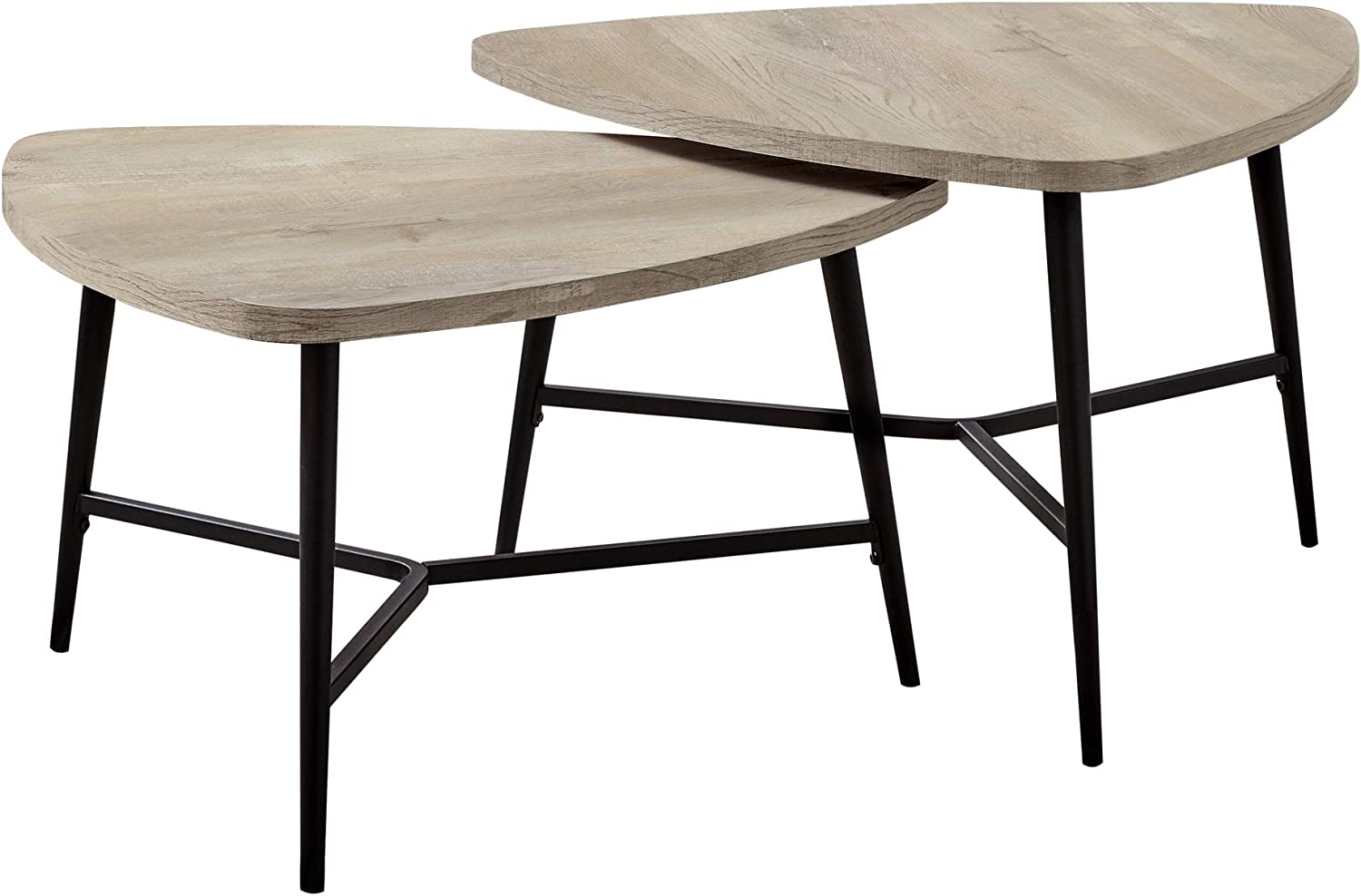 Ergode Table Set Limited Max 76% OFF time for free shipping - 2PCS Black Metal Reclaimed Taupe Wood