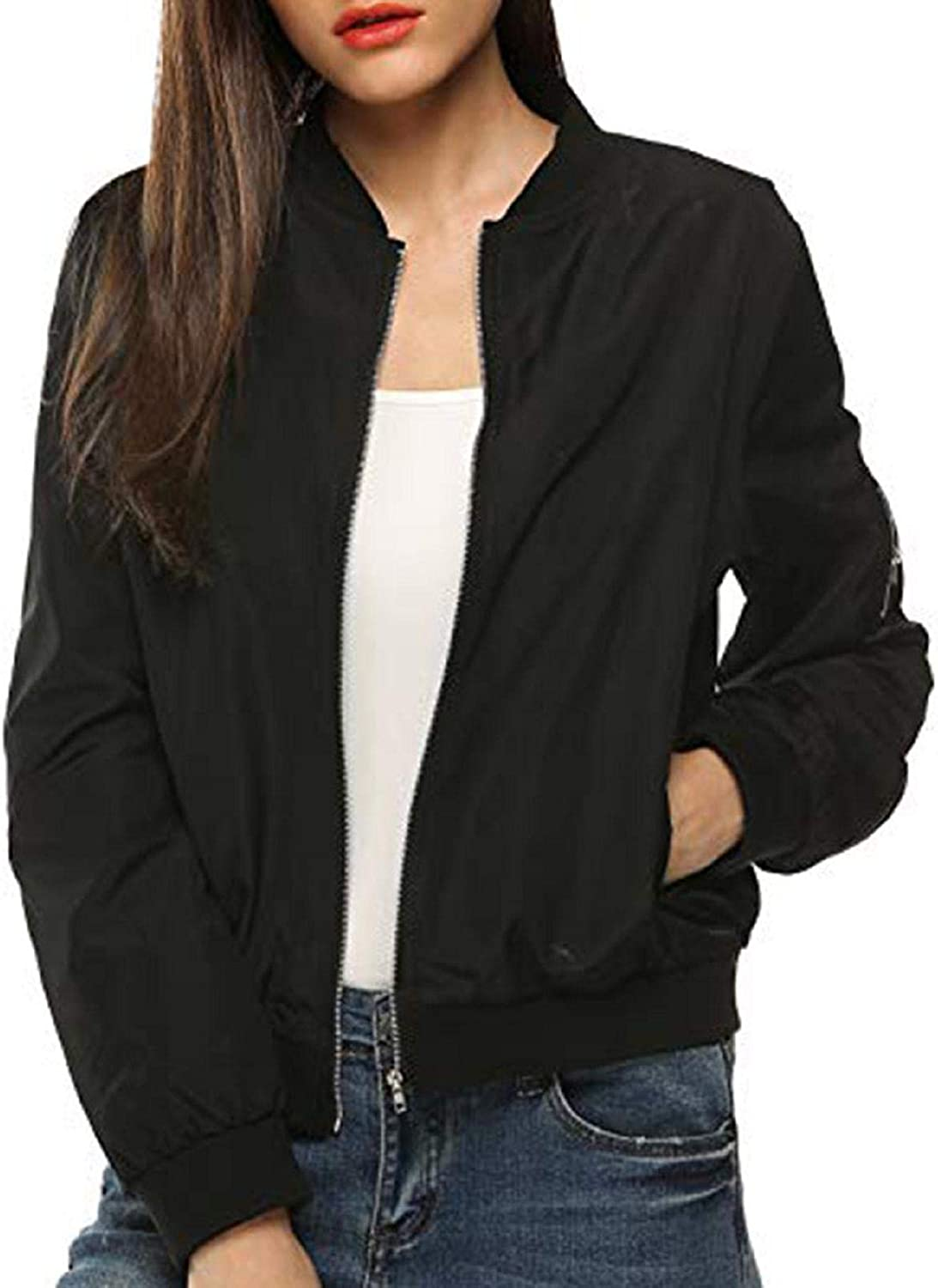 Women's Classic Bomber Jackets,Full-Zip Long Sleeve Quilted Jacket Coat Casual Lightweight Coat