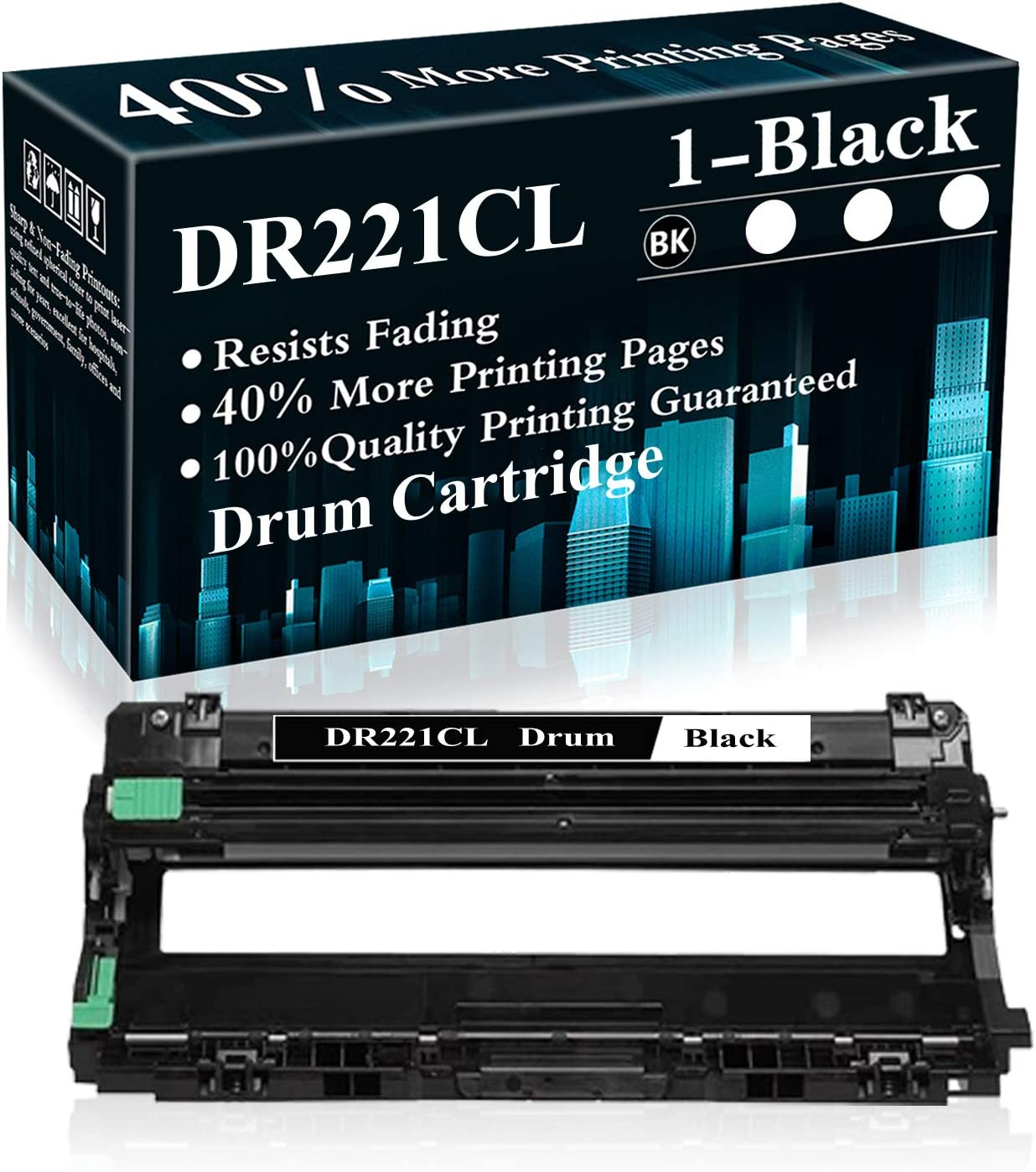 1 Black DR221CL Drum Unit Replacement for Brother HL-3140CW 3150CDN 3170CDW 3180CDW 9130CW 9140CDN 9330CDW 9340CDW 9015CDW 9020CDN Printer,Sold by TopInk