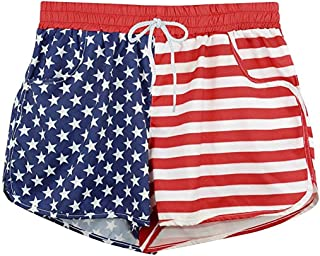 ANJUNIE Womens US Flag Beachwear Shorts with Lining Summer Casual Pant Bandwidth Pine Independence Day Comfy Trunks