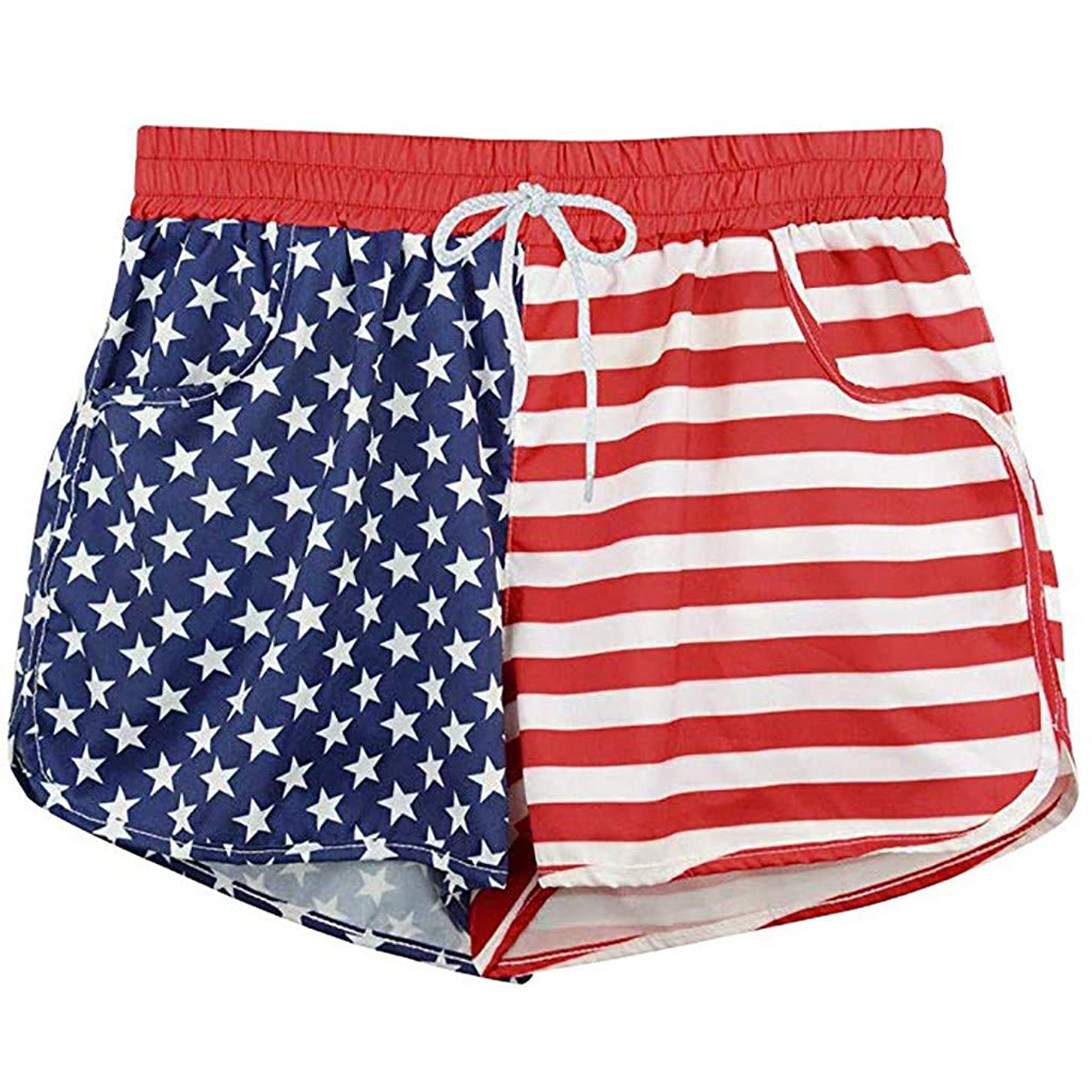 ANJUNIE Women's US Flag Beachwear Shorts with Lining Summer Casual Pant Bandwidth Pine Independence Day Comfy Trunks