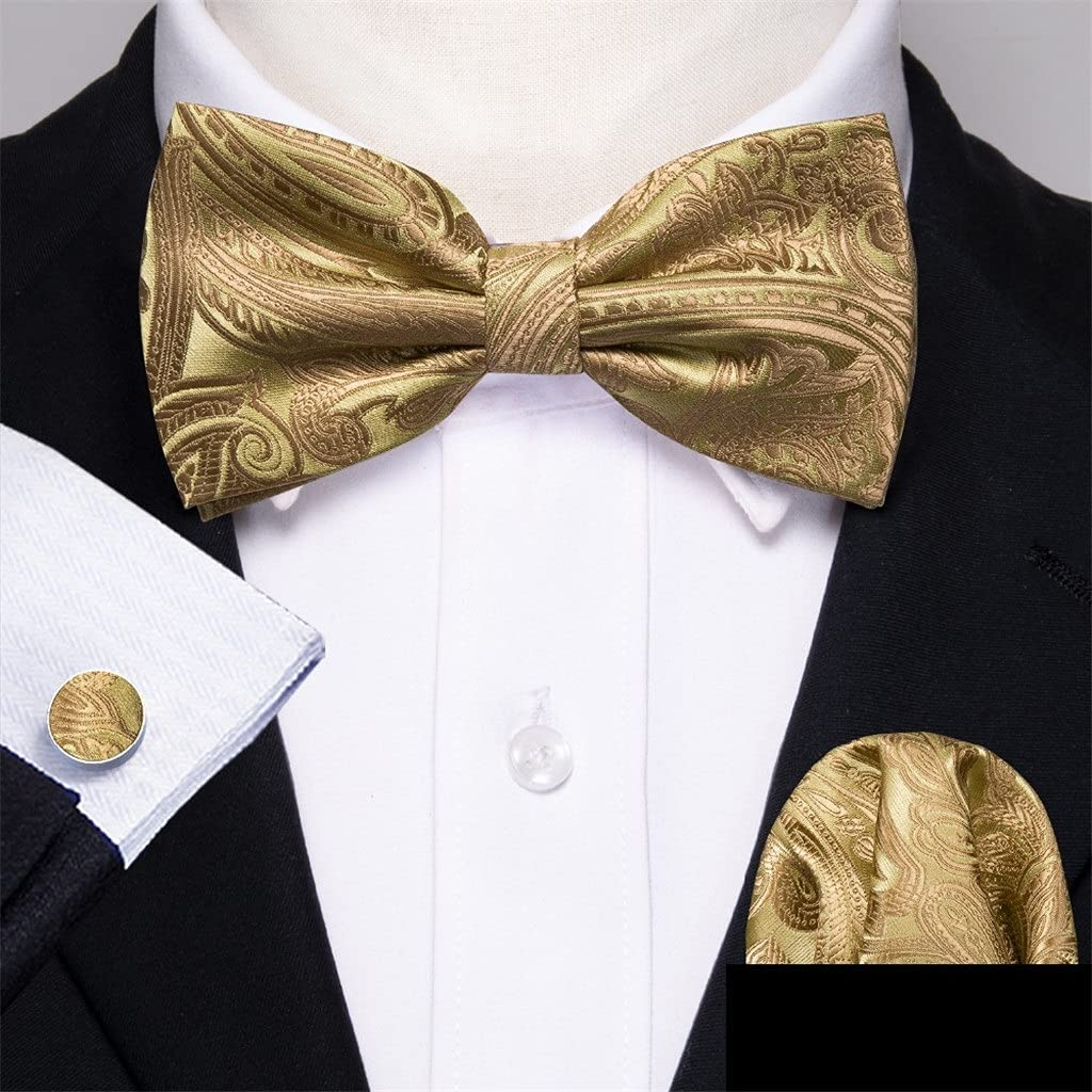 NJBYX Gold Silk Bow Tie For Men Wedding Accessories Adjustable Butterfly Handky Removable Gold Ring Set (Color : Gold, Size : One size)