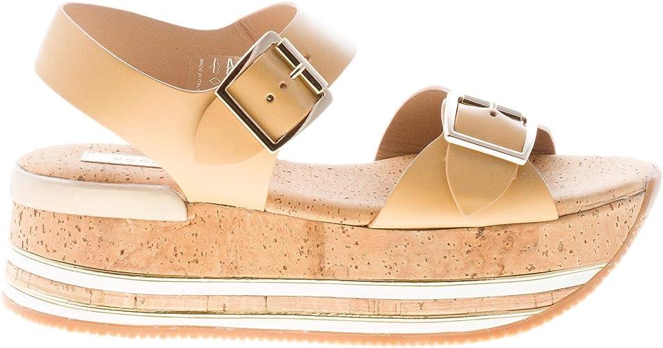 Hogan Donna H354 Sandalo in Pelle Marrone Caramello con Doppia Fibbia e Maxi Platform