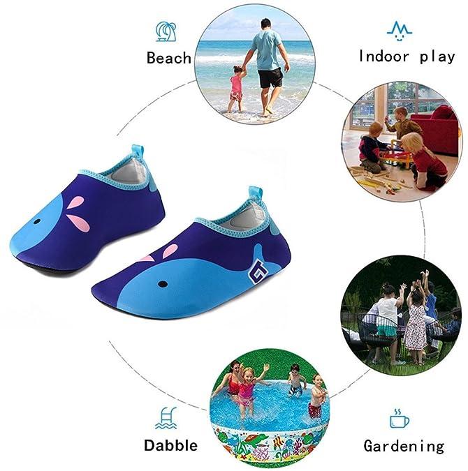 Vivay Toddler Kids Water Shoes Quick Drying Swim Beach Shoes Aqua Socks for Boys /& Girls