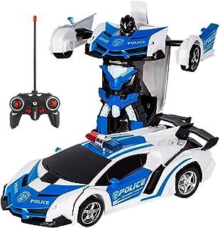 多機能ロボットおもちゃ ラジコンロボット RCカー おもちゃの車 ロボットに変換 安定性高い 耐衝撃 子供おもちゃ 贈り物 (警察の車)