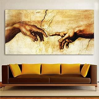 MhY Pintura clásica Arte de la Lona Decorativa Miguel Ángel Creación de Adán Decoración del hogar Cuadros de Pared para Sala de Estar 50cm_x75cm_No_Frame
