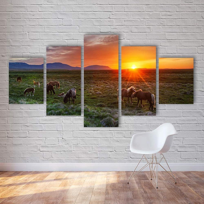 disfruta ahorrando 30-50% de descuento WZYWLH Marco de de de la Sala de Estar HD Pintura Impresa Decoración para el hogar 5 Panel de Animales en la Pradera Vista del Atardecer Arte Moderno de la Parojo Imágenes Posters  tienda en linea