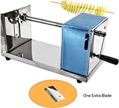 Homend Manual Twisted Potato Slicer Stainless Steel Slicing Machine Spiral Fruit Vegetable Cutter French Fry Manual Tornado Chips Machine with a Spare Blade