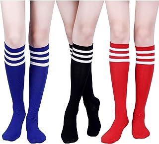 3 Pares de Calcetines a Rayas Triples Clásicos Calcetines Altos de Mulso Rodilla Calcetines de Tubo de Algodón Suave de Mujeres para Disfraz, 3 Colores