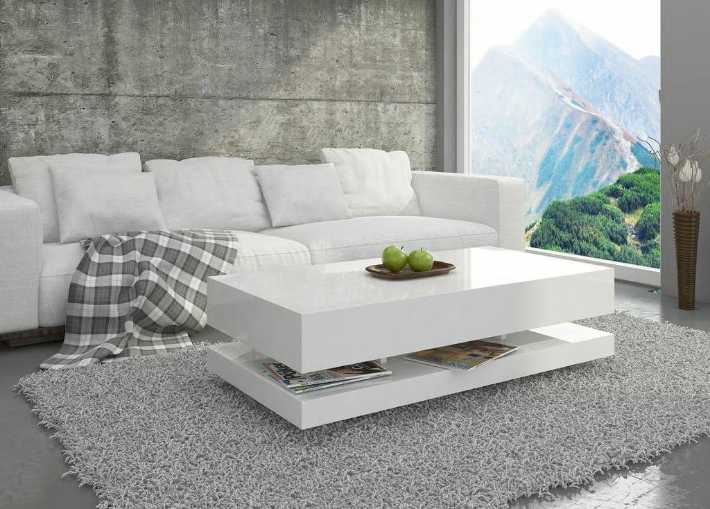Couchtisch Hochglanz Weiß Wohnzimmer Tisch Beistelltisch Kaffeetisch - Tora  - 8x8 / 8x8 (8x8x8)