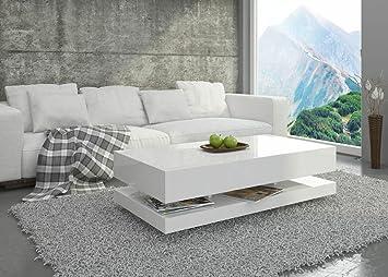 Couchtisch Hochglanz Weiß Wohnzimmer Tisch Beistelltisch Kaffeetisch - Tora  - 9x9 / 9x9 (9x9x9)