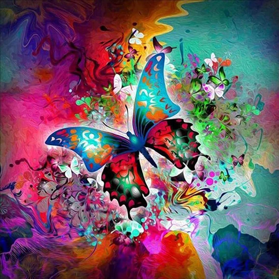 5D Full Drill Diamond Painting Kit, KISSBUTY DIY Diamond Rhinestone Painting Kits for Adults and Beginner Embroidery Arts Craft Home Decor, 15.8 X 15.8 Inch (Butterfly Diamond Painting)