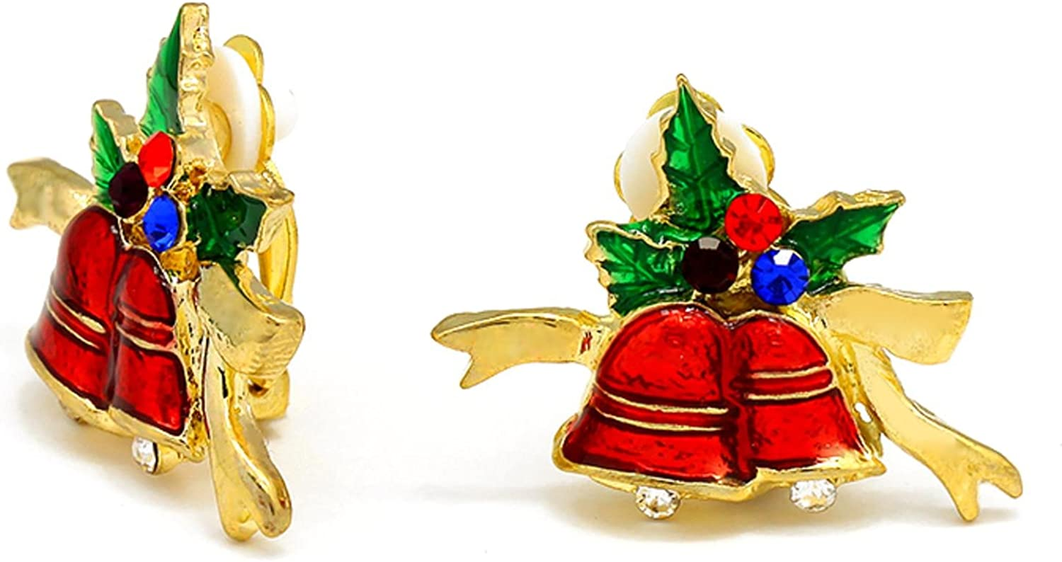 Christmas : Crystal Accented Enamel Christmas Bell Clip on Earrings For Women / AZERCO081-GMU-CHR