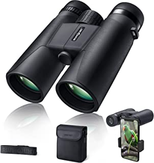 rivmount Binoculars for Adults 10x42 BAK-4 Roof Prism FMC Lens, HD Compact Durable Binoculars for Birdwatching Hunting Hiking and Traveling with Carrying Bag and Strap