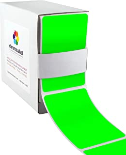 ChromaLabel 2 by 3 Inch Color Code Labels, 250 Dispenser Box, Fluorescent Green