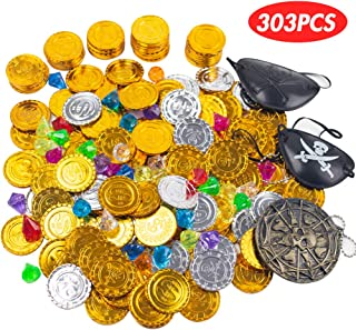 303PCS Pirate Toys Gold Coins and Pirate Gems Jewelery Playset Fillers Party Favor for Kids(250 Coin+50 Gem+2 Pirate Patch+1 Skull Necklace)