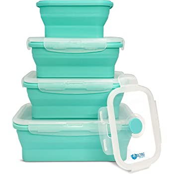 Collapsible Silicone Food Storage Container Set of 4 with Lids | Stackable - Space Saving | Microwaveable | Freezer, Dishwasher Safe| BPA Free|Collapsible Leftover or Meal Prep Lunch Box Containers