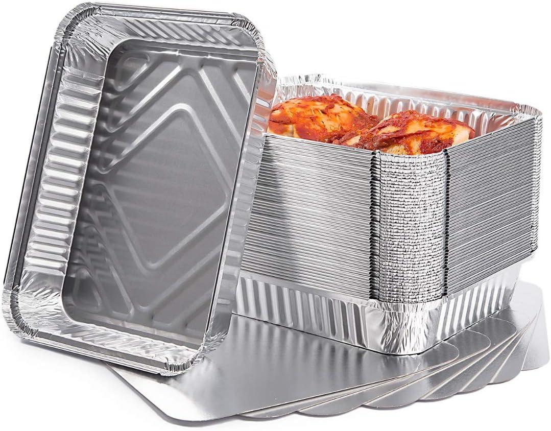 CONTITAL Recipientes de aluminio R1L con tapa, 2 porciones, bandejas desechables, línea profesional, 50 unidades