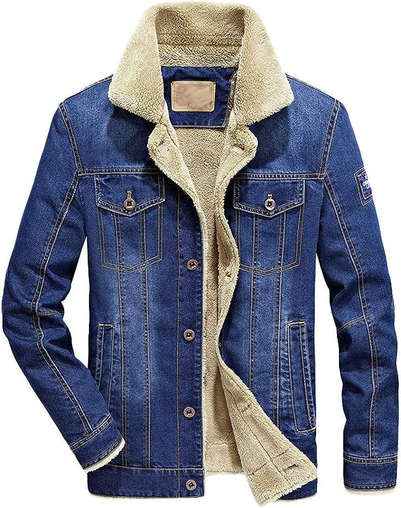RedBrowm Fashion Men's Autumn Winter Pocket Button Flick Denim Hooded Jacket Top Coat