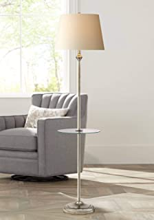 Dayton Modern Floor Lamp with Table Glass Tall Satin Nickel White Fabric Hardback Tapered Drum Shade for Living Room Reading - 360 Lighting