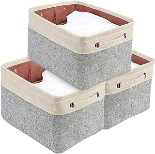 DECOMOMO Extra Large Foldable Storage Bin [3-Pack] Collapsible Sturdy Cationic Fabric Storage Basket Cube W/Handles for Organizing Shelf Nursery Home Closet & Office - Grey & Beige 15.8 x 12.5 x 10