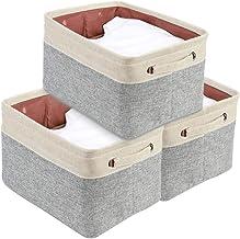 "DECOMOMO Extra Large Foldable Storage Bin [3-Pack] Collapsible Sturdy Cationic Fabric Storage Basket Cube W/Handles for Organizing Shelf Nursery Home Closet & Office - Grey & Beige 15.8 x 12.5 x 10"""