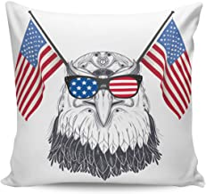 Square Throw Pillow Cover with Zipper for Girl/Boy/Kid/Couple/Couch/Chair/Bed/Dining/Living Room, Eagle American Independence Flag Decorative Soft Short Plush Cushion Cover Pillow Case 16x16in