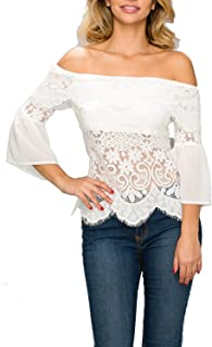 156d3ed9282817 StyleEvery1 Women Casual Summer Off Shoulder 3 4 Flare Sleeve Ruffle Lace  Tops Loose Blouse