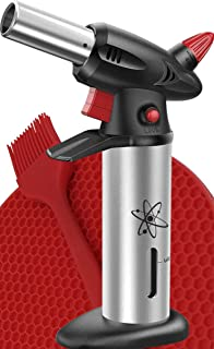 Culinary Kitchen Cooking Blow Torch Kit - Refillable, Adjustable, and Multipurpose - Dab Tool - Safety Lock and Fuel Gauge - Bonus Mat and Brush - by New Tron
