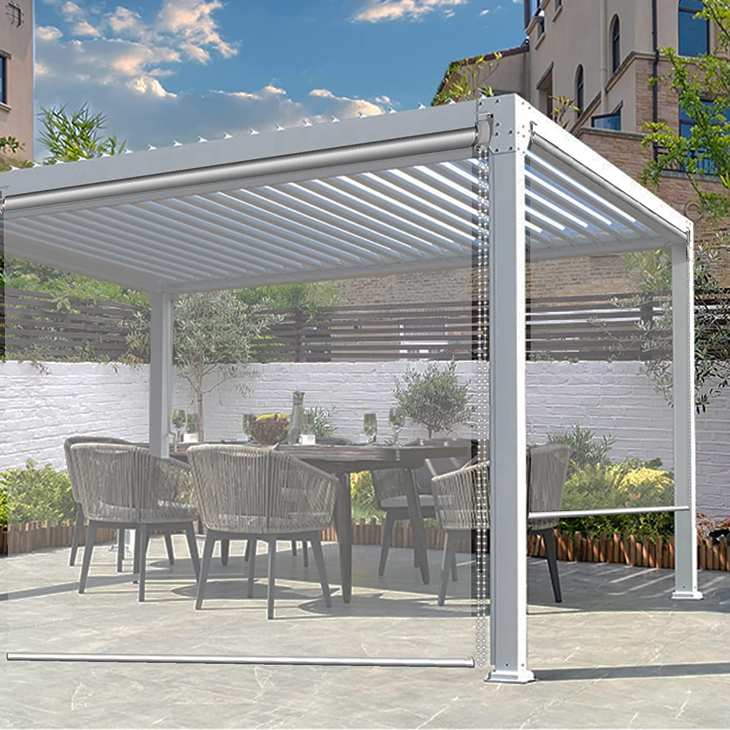 Outdoor Patio Blinds with Fittings Clear Shade Free Ranking TOP1 shipping anywhere in the nation Roller Exterior