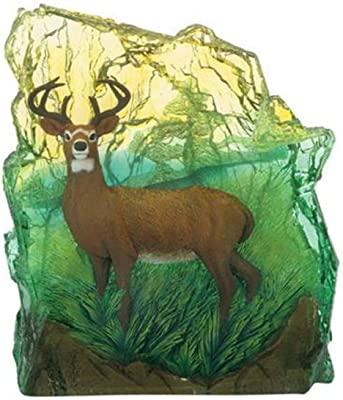WL SS-WL-9029, 5.25 Inch Deer Rearing Against Turquoise Clear Background Figurine