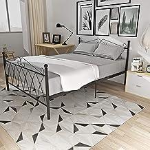 Bed Frame,Metal Single Bed Frame with 2 Headboards Bedstead Base Platform Bedroom Furniture 3FT