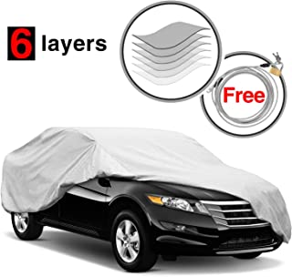 KAKIT Car Cover for Sedan Outdoor, Auto Vehicle Cover Univelsal Fit Windproof/UV Resistant/Waterproof/Dustproof, Free Windproof Ribbon & Anti-Theft Lock,Fits 185
