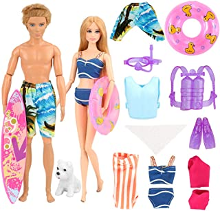 BARWA 12 Pcs Doll Clothes Accessories for Ken and 11.5 inch Girl Doll Underwater Adventurer 4 Diving Sets, 3 Swimsuits, 1 Pants for Ken, 1 Skateboard,1 Dog and 1 Lifebuoys Summer Beach Style
