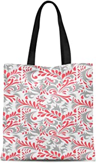 S4Sassy Blue Petals Floral Printed Canvas Large Tote Bag for Beach Shopping Groceries Books 16x12 Inches