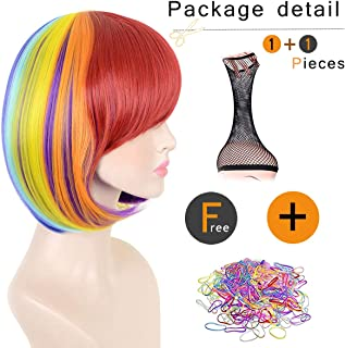 SiYi Short Rainbow Bob Wig with Bangs Multi Color Straight Synthetic Wig Heat Resistant Cosplay Pastel Full Wig for Women