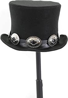 Wool Felt Top Hat Leather Concho Band Topper Mid Crown Opera Rocker Mad Hatter Classic Hat Black
