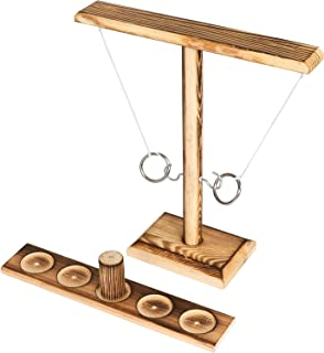 FDKOBE Ring Toss Games with Shot Ladder Bundle,2 Players Outdoor Indoor Handmade Wooden Ring Toss Hook Throwing Game for A...