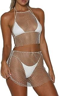 allshope Women Sexy Bikini Cover Up Dress Rhinestone See Through Mesh Fishnet Mesh Clubwear Beach Dress