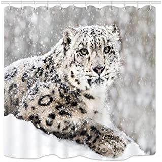 KOTOM Snow Leopard Shower Curtain, Wild Animals Big Cat in Snow Storm, Waterproof Fabric Bathroom Decor, Bath Curtains Accessories, with Hooks, 69X70 Inches