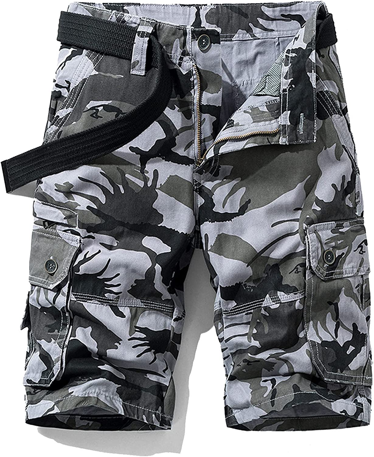 B dressy New Summer Cargo Shorts Men Camouflage Cotton Khaki Loose Casual Outwear Overalls-Gray-3-38