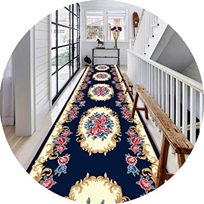 JIAJUAN Hallway Runner Rug, Non Slip Stain Resistant, Classic Floral Pattern, Kitchen Entrance Carpet Doormat, European Style, 2 Colors (Color : Blue, Size : 120x200cm)