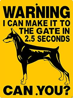 Doberman Pinscher Dog Guard Dog Security Gate Aluminum Metal Sign Heavy Duty Tin Signs Decoration Signs