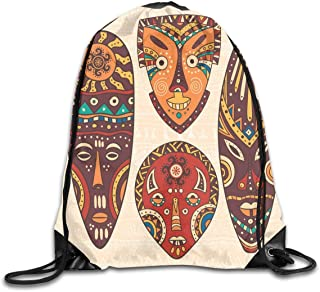 Drawstring Backpack Sports Gym Bag Bulk Bags Cinch Sacks Pull String Bags,Tribal African Pattern On Ritual Masks Ethnic Accessories Indigenous Culture,for Women Men Children Large Size