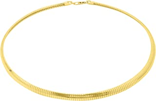 Verona Jewelers 925 Sterling Silver Flexible Italian Flat Domed Omega Chain Necklace- 2MM 3MM 4MM Cubetto Italy Wire Chain 16 18 20, 14K Gold Over Silver Chain Necklace