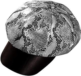 Bolley Joss Women Newboy Hat Snakeskin Visor Beret Cabbie Hat 8 Panel Ivy Cap PU Leather Vintage Painter Hat