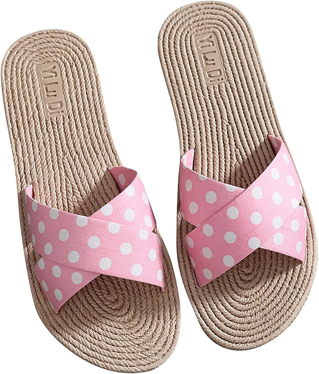 Non-slip Slide Sandals for Women Canvas Knot Bow Slides Sandals for House Indoor Outdoor Slippers