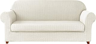 TIKAMI 2-Piece Jacquard Spandex Couch Fitted Cover Stretch Slipcovers (Sofa, Off-White)
