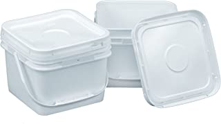 Square 68 mil Bucket Kit, Two 2-Gallon Buckets with White Snap-on Lids